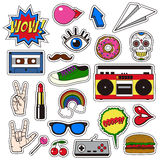 Retro patch badges set. Collection of cartoon icons, stickers and stripes in vintage comic style. Royalty Free Stock Photography