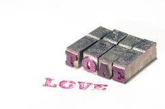 Retro patchwork metal word love Royalty Free Stock Image
