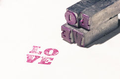 Retro patchwork metal word love Royalty Free Stock Photography