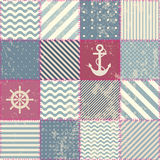 Retro patchwork in nautical style. Royalty Free Stock Photos