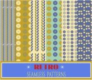 Retro patronen - reeks van zes bloemenpatronen, tekst Royalty-vrije Stock Afbeeldingen