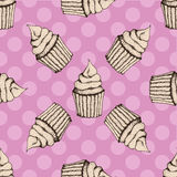 Retro patroon met cupcakes Royalty-vrije Stock Fotografie