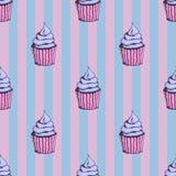 Retro patroon met cupcakes Stock Foto's