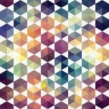 Retro patroon van geometrische vormen Rug van het driehoeks de kleurrijke mozaïek Stock Foto