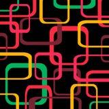 Retro patroon zwarte achtergrond met rond gemaakte vierkanten - Royalty-vrije Stock Afbeeldingen