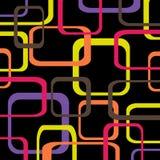 Retro patroon zwarte achtergrond met rond gemaakte vierkanten - Royalty-vrije Stock Fotografie