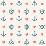 Retro pattern - anchors, ship wheels and hearts Royalty Free Stock Image