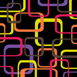 Retro pattern black background with squares - rounded.  Royalty Free Stock Photography