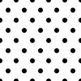 Retro pattern with black polka dots on white background Stock Images