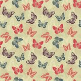Retro pattern with butterflies. Seamless retro pattern with butterflies Stock Photography