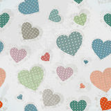 Retro Pattern with Colorful Hearts Royalty Free Stock Images