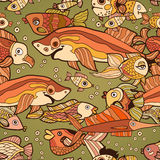 Retro pattern of different fish in the water Royalty Free Stock Photography