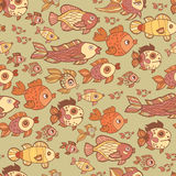 Retro pattern of different fish in the water. Seamless Background from various sea fish in vintage style Stock Photography