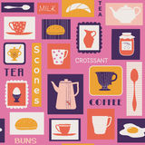 Retro pattern with dishes for breakfast Royalty Free Stock Photography