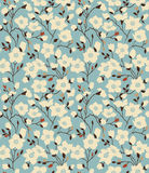 Retro a pattern with magnolia branches Stock Photos
