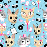 Retro pattern with pictures of animals Stock Image