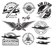 Retro pattern set of planes, badges, design elements Stock Photography
