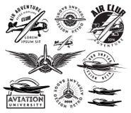 Retro pattern set of planes, badges, design elements Stock Photography