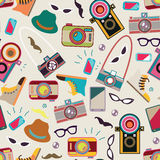 Retro pattern with variations of cameras Royalty Free Stock Photo