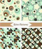 Retro patterns. In a green colours stock illustration