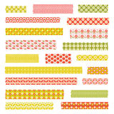 Retro patterns washi tape clipart. Retro vintage patterns washi tape clipart stock photography
