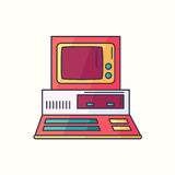 Retro PC flat linear icon. Old personal computer symbol in brigh. T trendy colors. Hipster electronic gadget from 80s or 90s. Vintage tech CRT device from Stock Photos