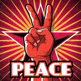 Retro Peace Hand Poster. Royalty Free Stock Photos