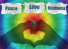 Retro peace, love and kindness image with tie-dye Stock Image