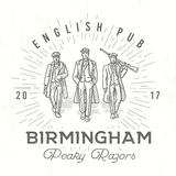 Retro peaky logo. Men in hats with blinders illustration. Gangsters vintage poster. English pub insignia. Birmingham Stock Photos