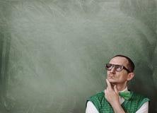 Retro pensiero divertente del nerd fotografie stock