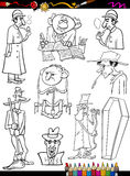 Retro people set cartoon coloring page Royalty Free Stock Images