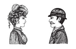 Retro people speaking. Vector illustration of two people - man and woman - communicating, concept hand drawn engraving style picture of vintage people group Royalty Free Stock Image
