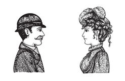 Retro people speaking. Vector illustration of two people - man and woman - communicating, concept hand drawn engraving style picture of vintage people group Stock Images