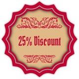 Retro 25 PERCENT DISCOUNT magenta badge. Illustration concept image Stock Image