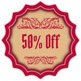 Retro 50 PERCENT OFF magenta badge. Illustration concept image Royalty Free Stock Photography