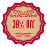 Retro 30 PERCENT OFF magenta badge. Illustration concept image Stock Image