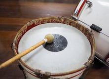 Military drum Bass drum with drum sticks. Retro percussion musical instrument. Military drum Bass drum with drum sticks stock photos