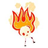 retro personaggio dei cartoni animati del cranio ardente Fotografia Stock Libera da Diritti