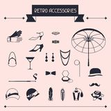 Retro personal accessories, icons and objects of Stock Photos