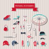 Retro personal accessories stickers of 1920s style.  Royalty Free Stock Image