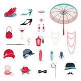 Retro persoonlijke toebehoren, pictogrammen en voorwerpen van Royalty-vrije Stock Afbeelding