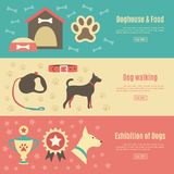 Retro pet flat horizontal banner set. Vector Stock Image
