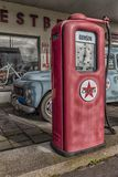 Retro Petrol Pump and Car stock photography