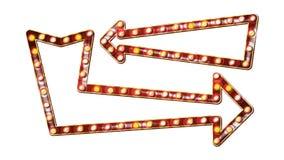 Retro- Pfeil-Anschlagtafel-Vektor Glänzendes Pfeil-Licht-Zeichen-Brett Realistischer Glanz-Lampen-Rahmen Weinlese-Goldenes belich stock abbildung