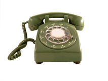Retro Phone. A straight on shot of a retro phone isolated on a white background.  Room for copy in the middle of the dial Stock Photography