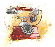 Retro phone. Vector old phone & watercolor background Royalty Free Stock Photo