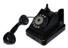 Retro phone black isolated Royalty Free Stock Image