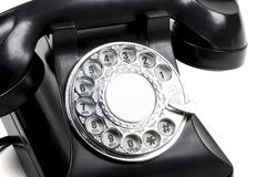 A retro phone. A retro black rotary phone Stock Photo