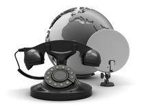 Retro phone, earth globe and satellite Stock Images