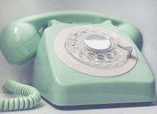Retro Phone With Emergency Services. Rotary Telephone with Emergency Phone Number Royalty Free Stock Image